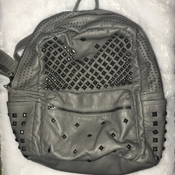 Handbags - Grey faux leather studded backpack